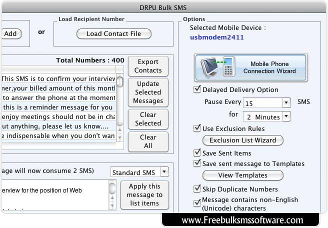 Mac OS X Bulk SMS