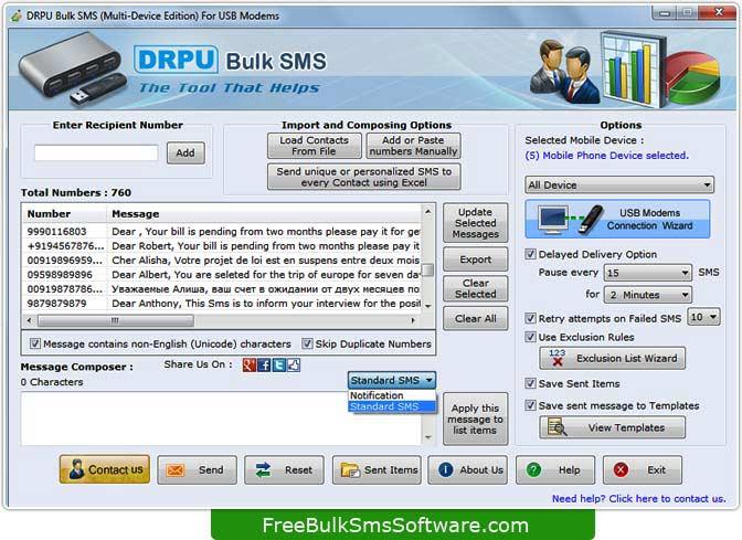 Program transmits bulk standard messages